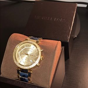 MICHAEL KORS blue and gold watch